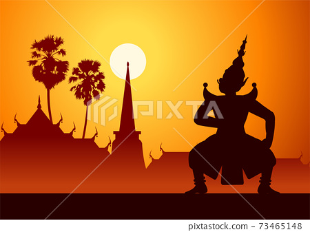 Thai ancient literature play,Ramayana,king of giant ready to fight,silhouette style,scenery background 73465148