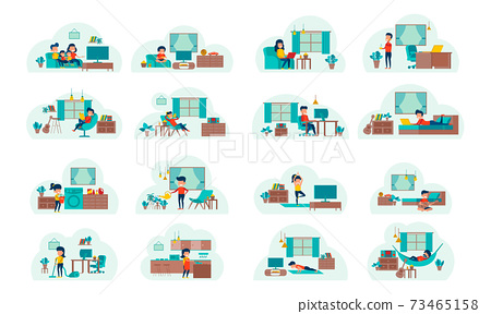 set of cartoon version of working home and stay home with flat design 73465158