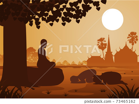 Buddhist couple pay respect to monk politely with faith and believe 73465162