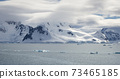 Antarctic Coastline With Snow Capped Mountains And Low Clouds 73465185