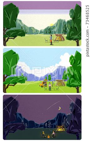 白天和黑夜的山林露營風景 73468525