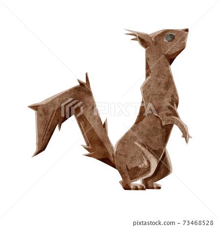 松鼠的手繪水彩風格插圖 73468528