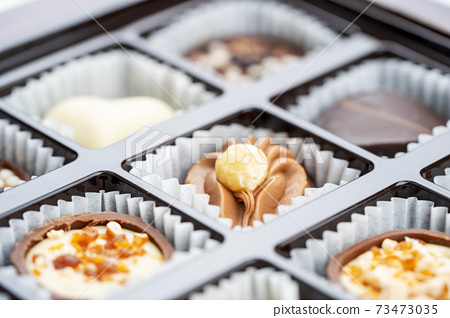 Different chocolate pralines. Box of belgian pralines of different shapes 73473035