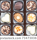 Different chocolate pralines. Box of belgian pralines of different shapes 73473036
