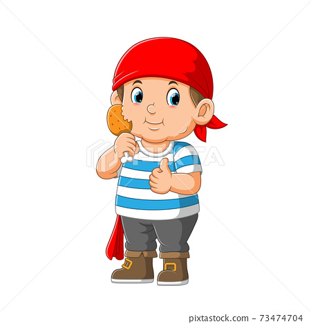 Kid Pirate Cartoon Character holding fried chicken 73474704