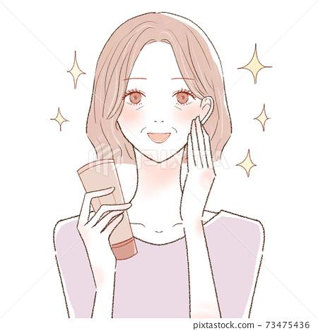 護膚中年女性保濕效果 73475436