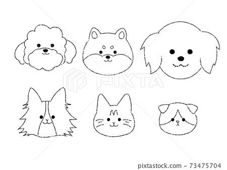 簡單的貓和狗的插圖集 73475704