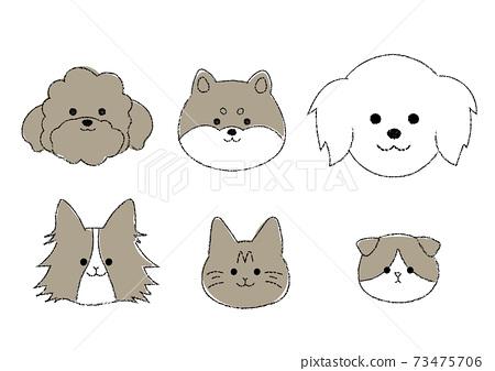 簡單的貓和狗的插圖集 73475706