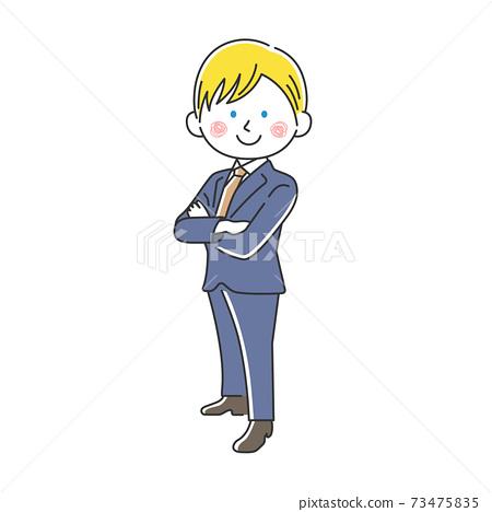 一個微笑的白人商人,他雙臂交叉的插圖 73475835