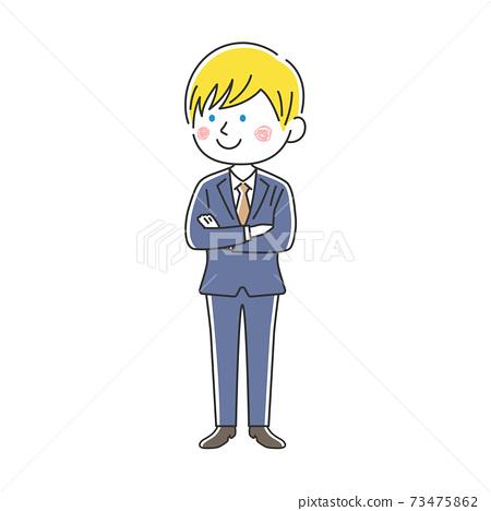 一個微笑的白人商人,他雙臂交叉的插圖 73475862