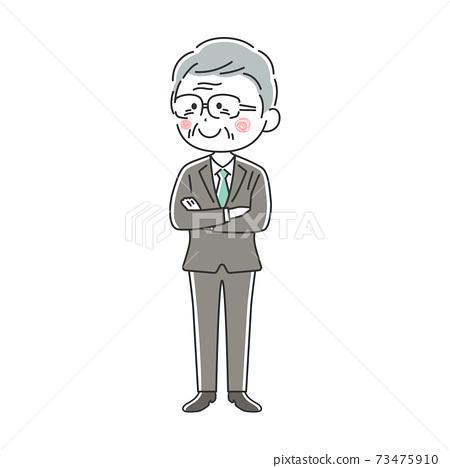 一個微笑的老年商人,他雙臂交叉的插圖 73475910