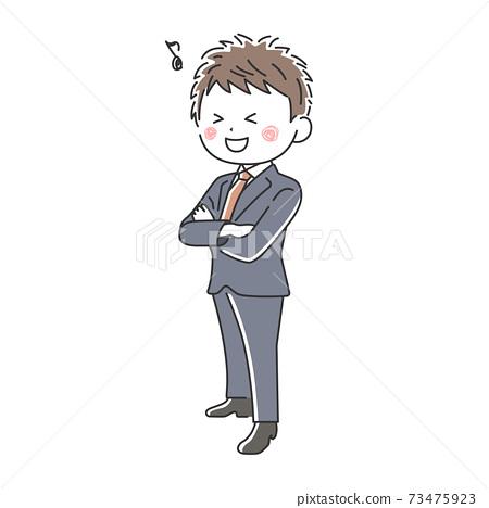팔짱을 미소 사업가의 일러스트 73475923