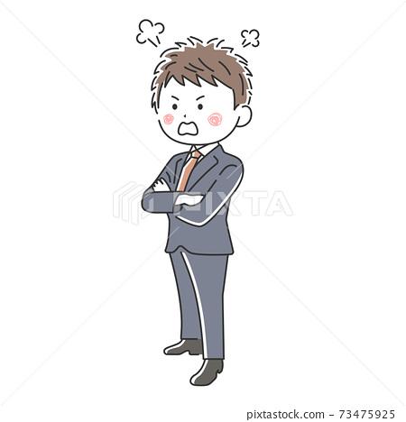 一個憤怒的商人,他雙臂交叉的插圖 73475925