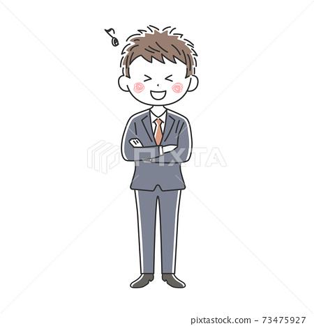 一個微笑的商人,他雙臂交叉的插圖 73475927