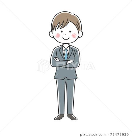 一個微笑的商人,他雙臂交叉的插圖 73475939