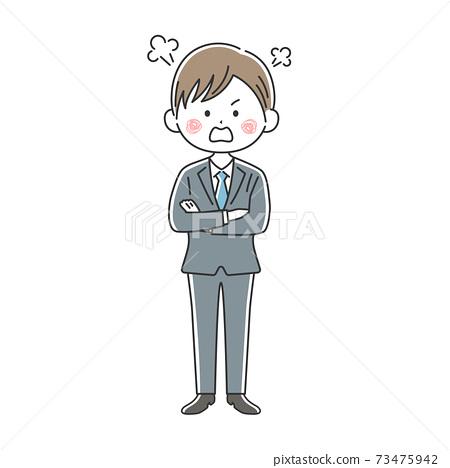 一個憤怒的商人,他雙臂交叉的插圖 73475942