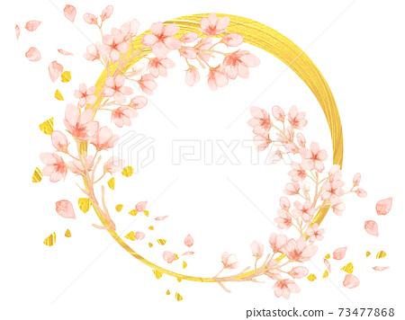 月亮櫻花框架,水彩櫻花,月亮,金箔,豪華徽標,夜櫻花日式,觀賞春天的櫻花,大正時代,新年賀卡,金新月 73477868