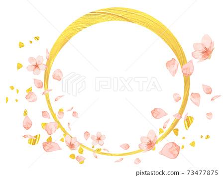 月櫻花框架,水彩櫻花,月亮金箔,豪華徽標,夜櫻花日式,觀賞春天的櫻花,大正時代,新年賀卡金 73477875