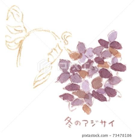 甚至在枯萎的紫色下仍然盛開的冬季繡球(水彩插圖) 73478186