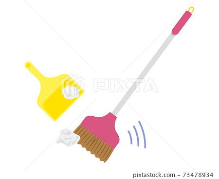 掃帚和灰塵去除矢量圖清潔 73478934