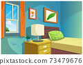 Graphic of cartoon bedroom. 73479676