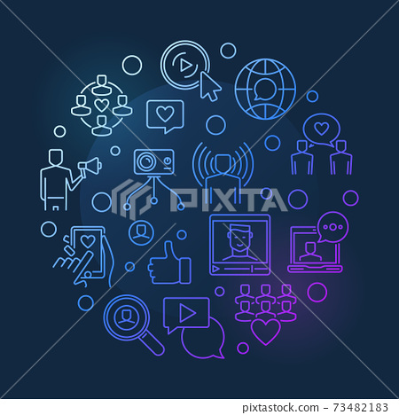Internet Celebrity vector circular colored outline illustration 73482183