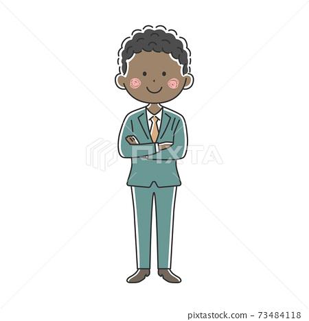 一個微笑的黑人商人,他雙臂交叉的插圖 73484118
