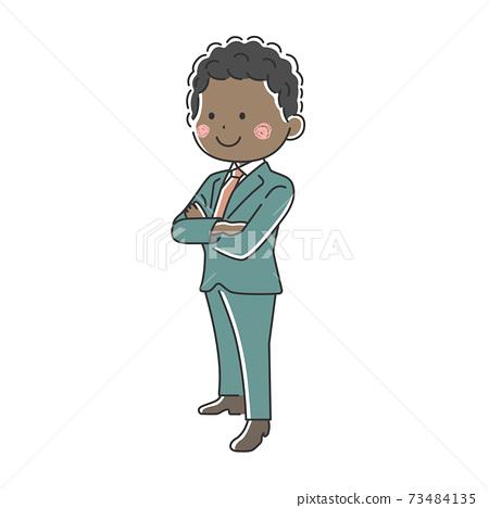 一個微笑的黑人商人,他雙臂交叉的插圖 73484135