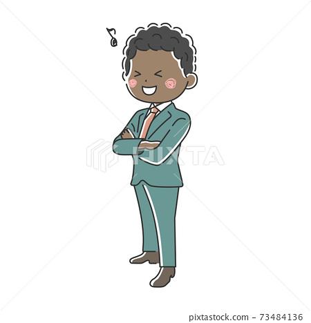 一個微笑的黑人商人,他雙臂交叉的插圖 73484136