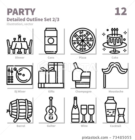 Party and Cebbertion icons set, Detailed Outline, vector and illustration set 2 73485055