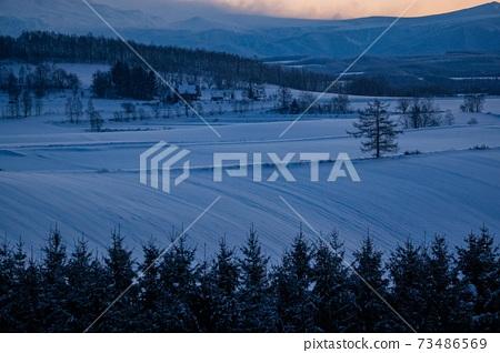 北海道美瑛町冬季山12月 73486569