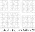 Illustration of five different white puzzles, separate pieces 73489579