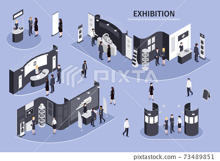 Exhibition Isometric Illustration 73489851