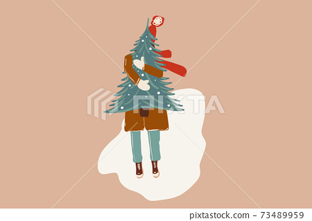 Illustration of a woman with a New Year tree 73489959