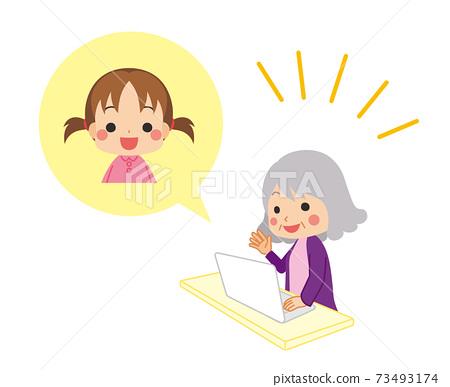 손자와 영상 통화를하는 귀여운 할머니의 일러스트 가족 73493174