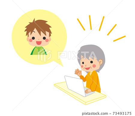 손자와 영상 통화를하는 귀여운 할머니의 일러스트 가족 73493175