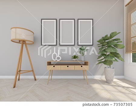 wood desk in the grey room with ficture frame and floor lamp 73507305