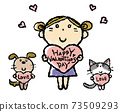 Hand drawn illustrations of cute girls with valentine hearts and cats and dogs 73509293