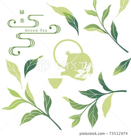 綠茶插圖/擦手風格/日式 73512974