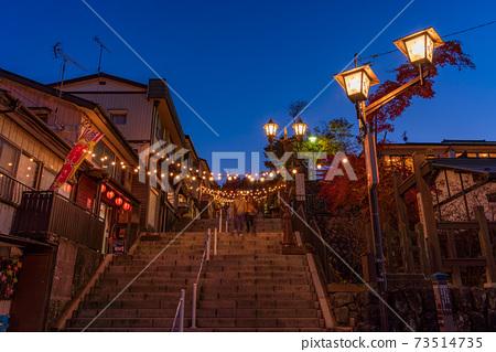 (군마현) 이카 호 온천 밤의 돌층계 거리 73514735