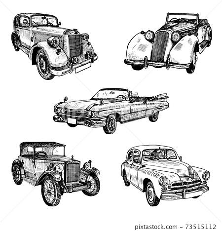 Hand drawn vintage retro old timer cars set doodle sketch 73515112
