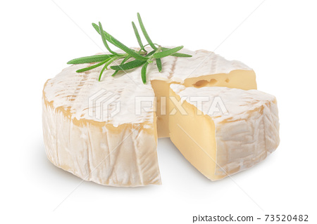 Camembert cheese with rosemary isolated on white background with clipping path and full depth of field 73520482