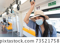 Woman Asian tourist was riding a sky train and was holding a handrail for safety. Women wear sanitary masks while using public transport to prevent transmission in transportations concept,Soft focus. 73521758