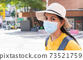 Close up face of female traveller wearing a mask is looking at the camera while visiting a backpacker during the outbreak in new normal lifestyle with blur background, copy space. 73521759