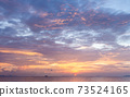 Beautiful tropical beach sunset with colourful sea sky 73524165