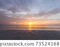 Beautiful tropical purple beach sunset with colourful sea sky 73524168