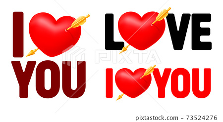 I Love You Lettering Set With Pierced Heart 73524276