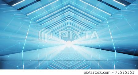 Abstract interior sci-fi spaceship corridors. futuristic design spaceship interior in blue background. 3d rendering. 73525353