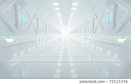 Abstract interior sci-fi spaceship corridors. futuristic design spaceship interior in blue background. 3d rendering. 73525356