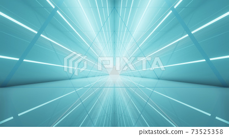 Abstract interior sci-fi spaceship corridors. futuristic design spaceship interior in blue background. 3d rendering. 73525358